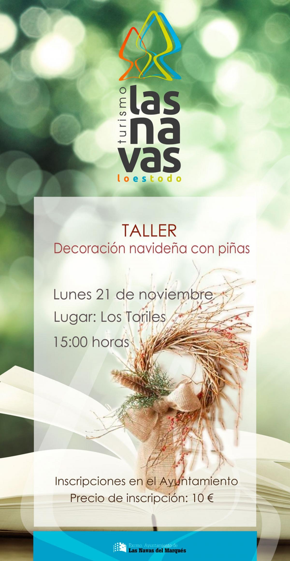 Taller de decoraci n navide a con pi as turismo las navas - Decoracion navidena con pinas ...