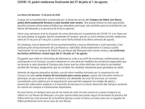 El I Campus de fútbol Javi Navas anuncia sus fechas definitivas